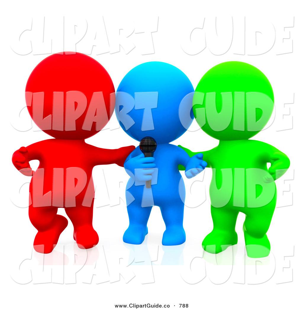 1024x1044 Clip Art Of A 3d Teeny People Singing Karaoke As A Team By Andresr