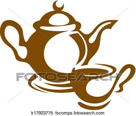 450x386 Clipart Of Teapot, Cup And Saucer Icon In Brown K17923775