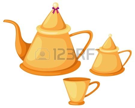 450x362 An Illustration Of A Tray With Tea Set Including Teapot Sugar