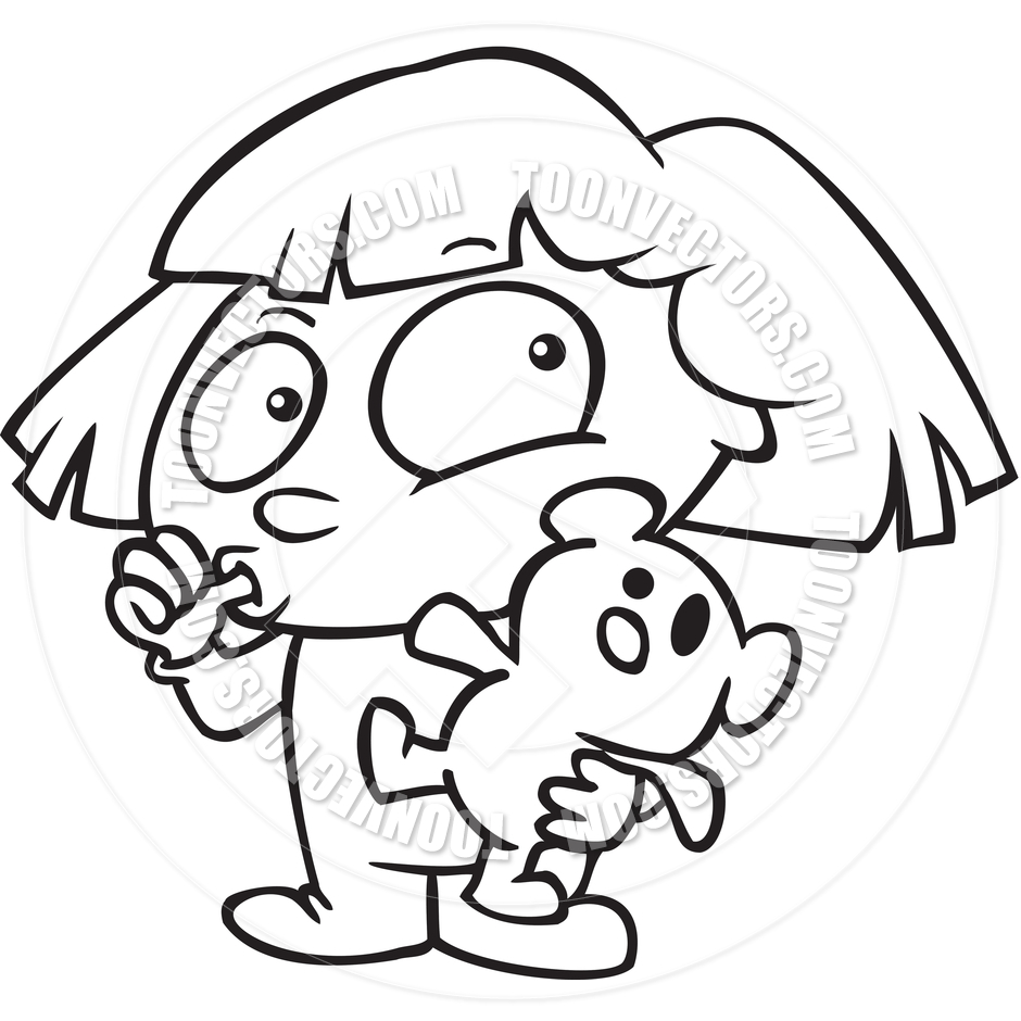 940x940 Cartoon Teddy Bear Girl (Black And White Line Art) By Ron Leishman