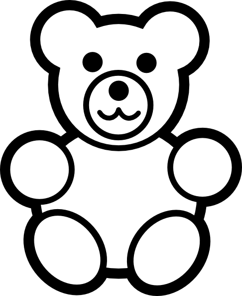 486x593 Circle Teddy Bear Black And White Clip Art