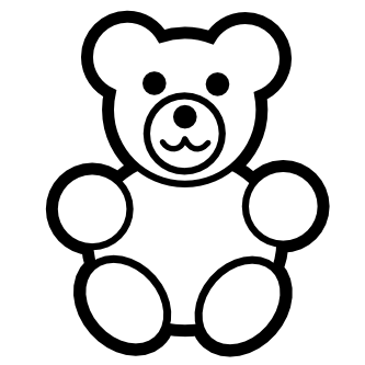 333x333 Teddy Bear Black And White