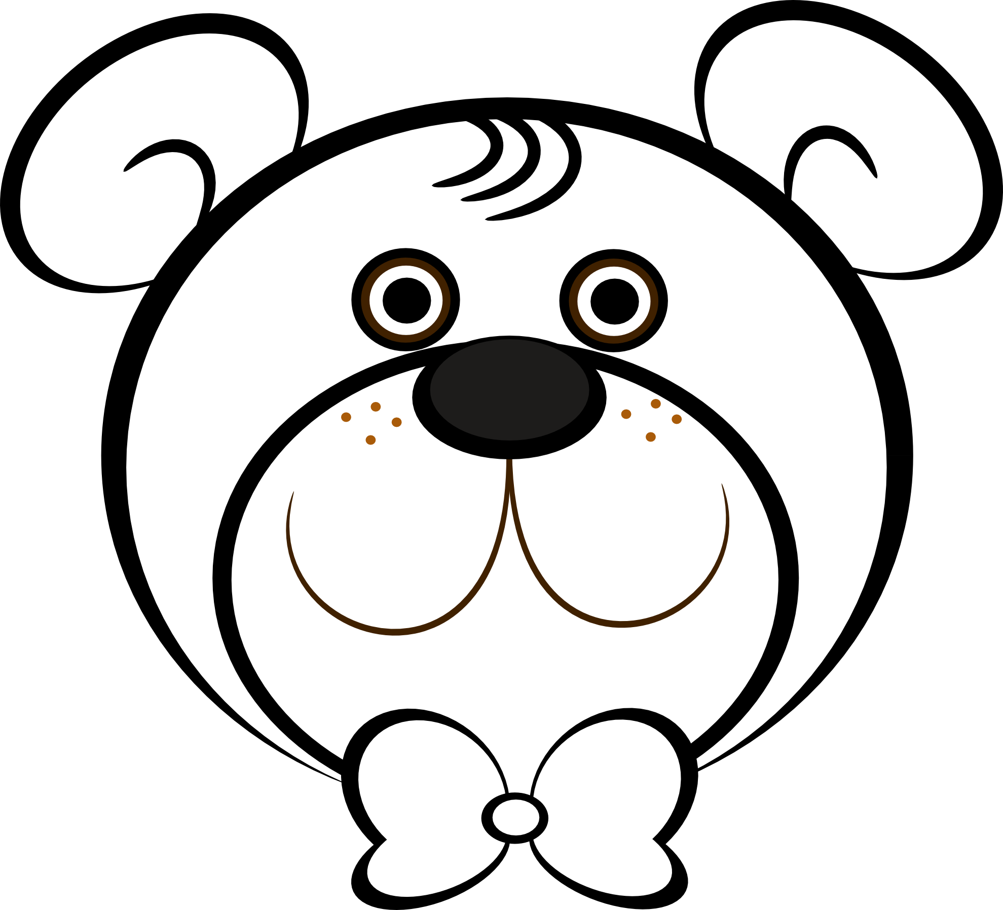 1979x1795 Clip Art Teddy Bear Black White Line Art