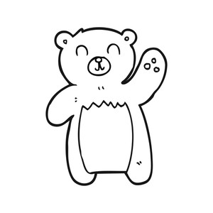 300x300 Freehand Drawing Of A Black And White Cartoon Teddy Bear Waving