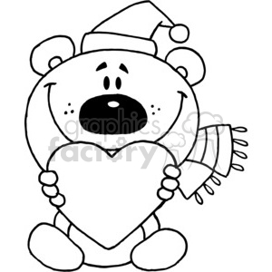 300x300 Royalty Free Santa Teddy Bear In Black And White Holding A Heart
