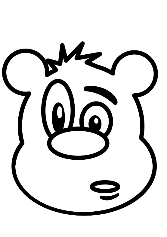 555x785 Clip Art Bear Black White Line Teddy Bear