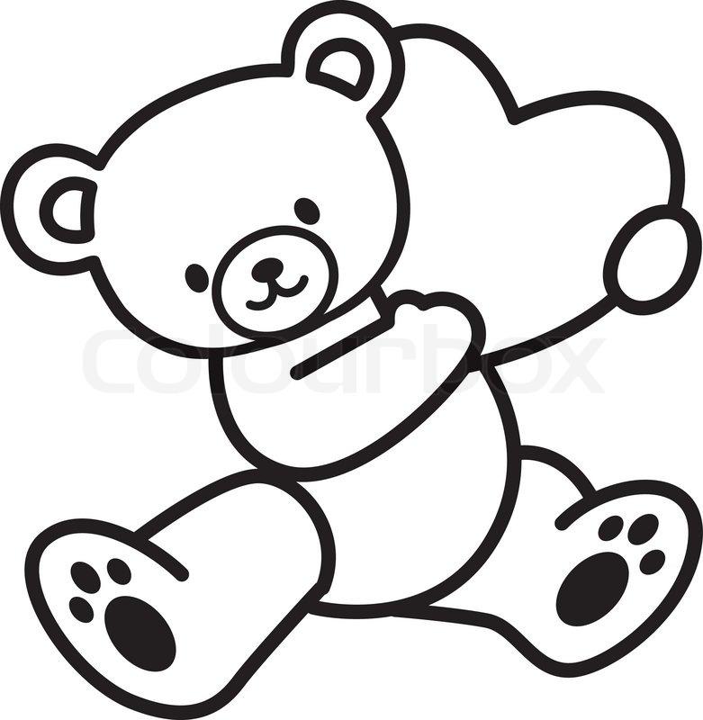 781x800 Drawn Teddy Bear Heart Outline