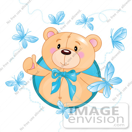 450x450 Royalty Free (Rf) Clip Art Of A Happy Bear Surrounded By Blue