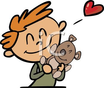 350x297 Royalty Free Clipart Image Boy Hugging His Teddy Bear