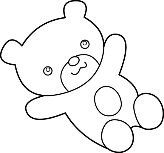 550x511 Cuddly Teddy Bear Coloring Page