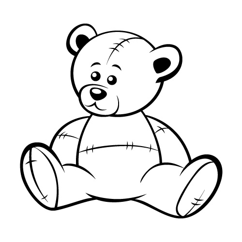 500x500 Drawn Teddy Bear Vector