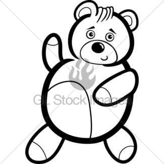 325x325 Outlined Happy Teddy Bear Gl Stock Images