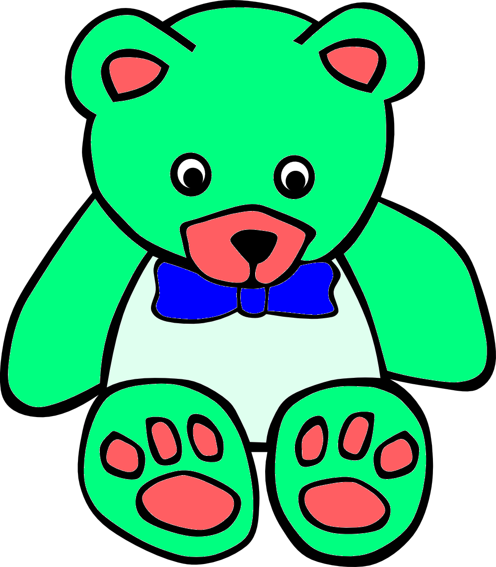 999x1142 Surf Green Teddy Bear Line Art Free Images