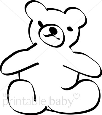 344x388 Teddy Bear Clipart Sketched