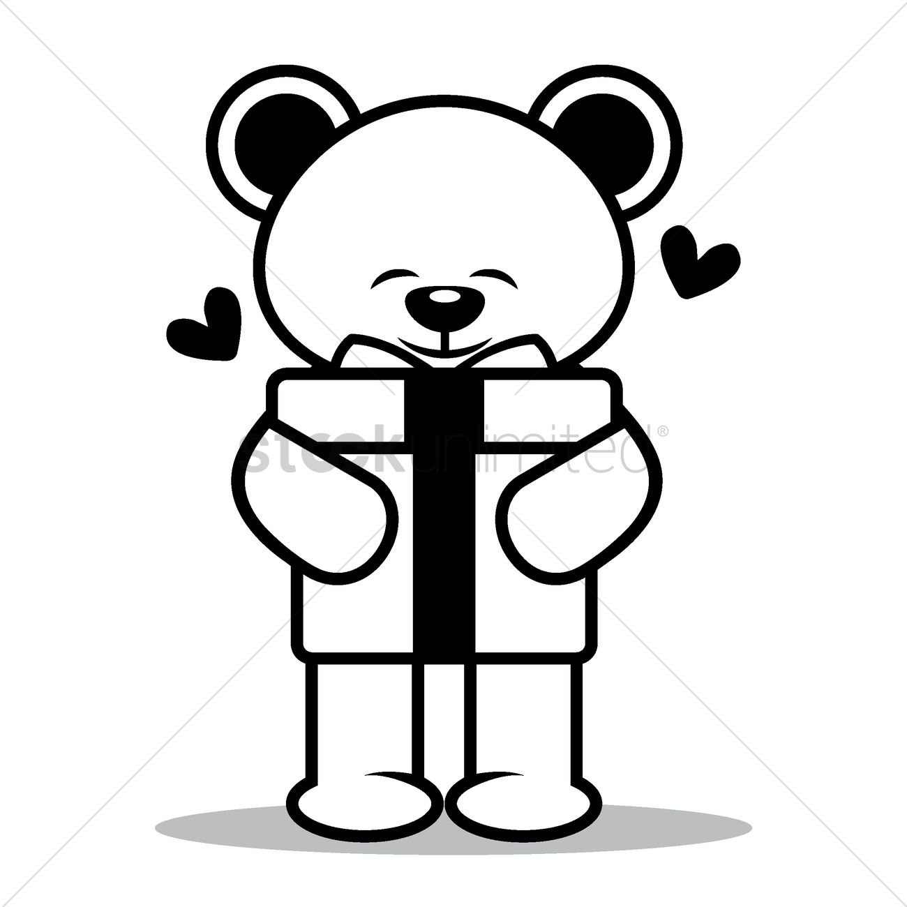 1300x1300 Teddy Bear With Gift Pack Vector Image