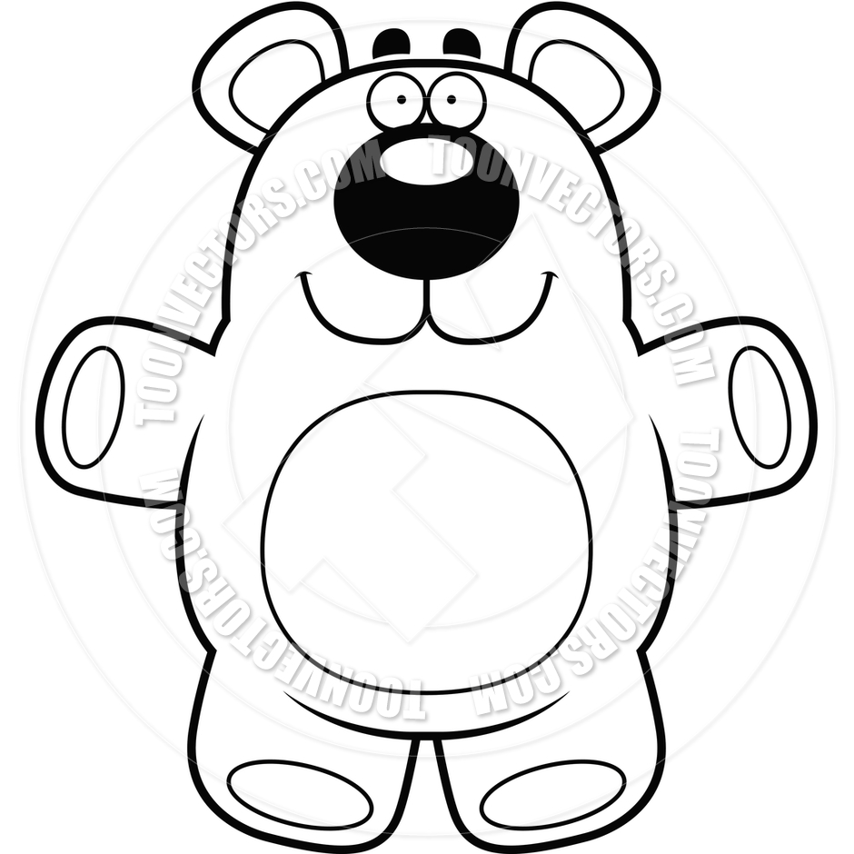 940x940 Cartoon Teddy Bear (Black And White Line Art) By Cory Thoman