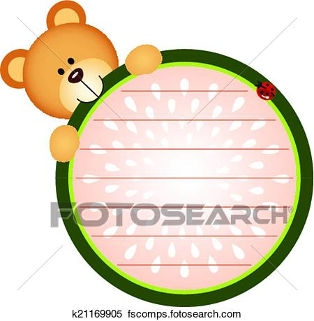 450x459 Clipart Of Label Teddy Bear Eating Watermelon K21169905