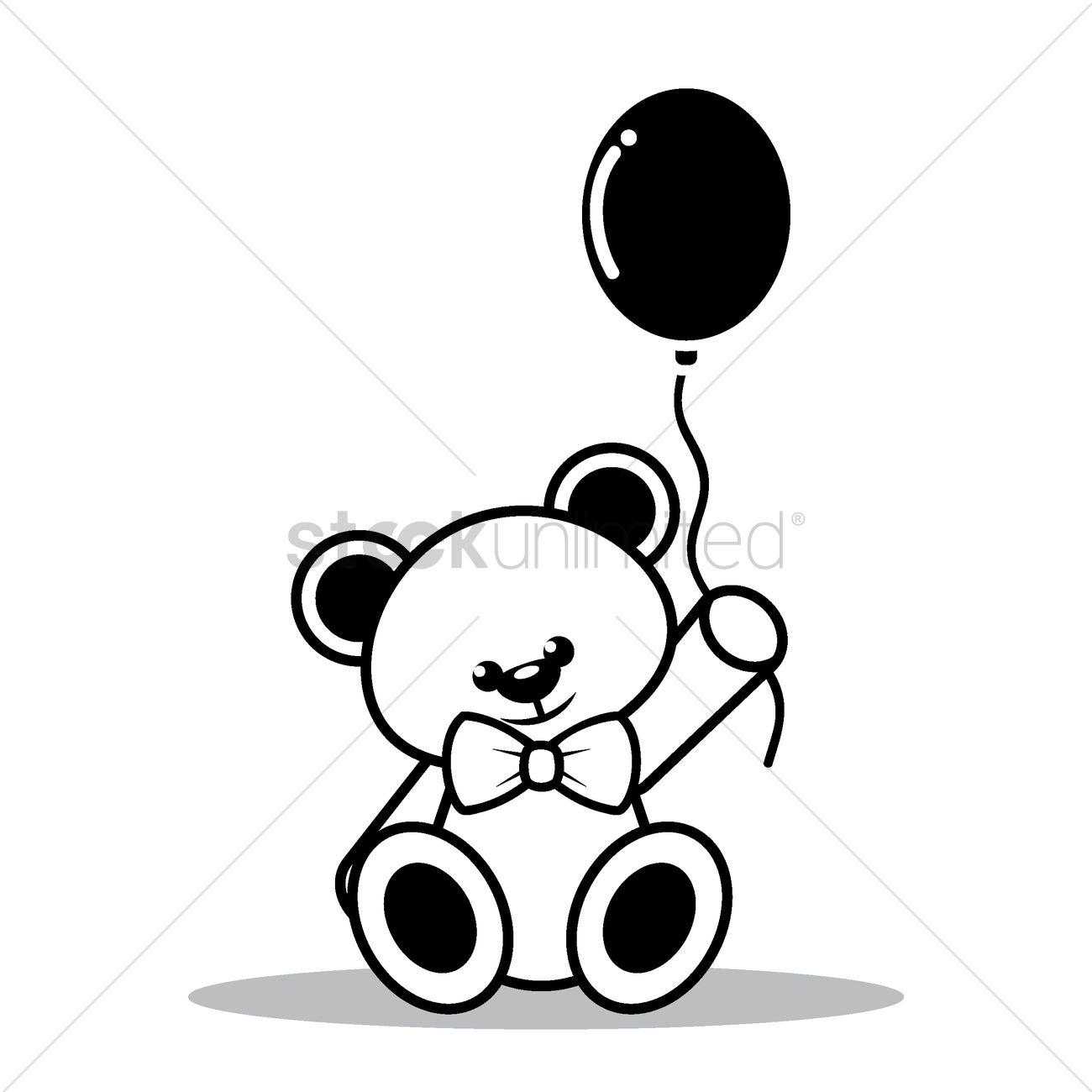 1300x1300 Teddy bear with balloon Vector Image