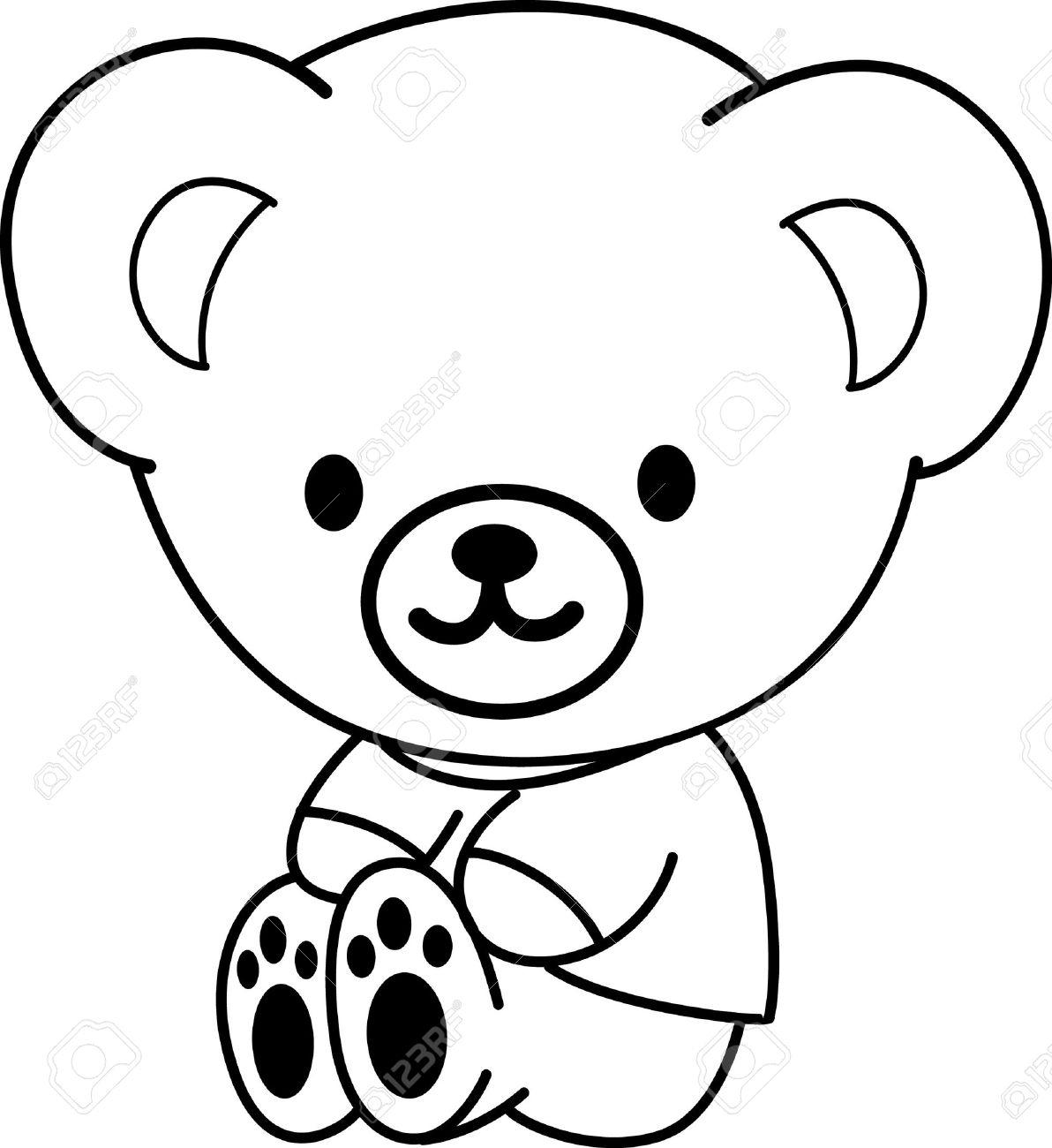 1192x1300 Cartoon Drawings Of Bears Teddy Bear Outline Clipart 505319