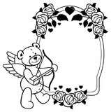 159x160 Heart Shaped Frame With Outline Roses Teddy Bear With Bow