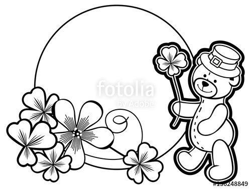 500x377 Outline Round Frame With Shamrock Contour And Teddy Bear. Vector