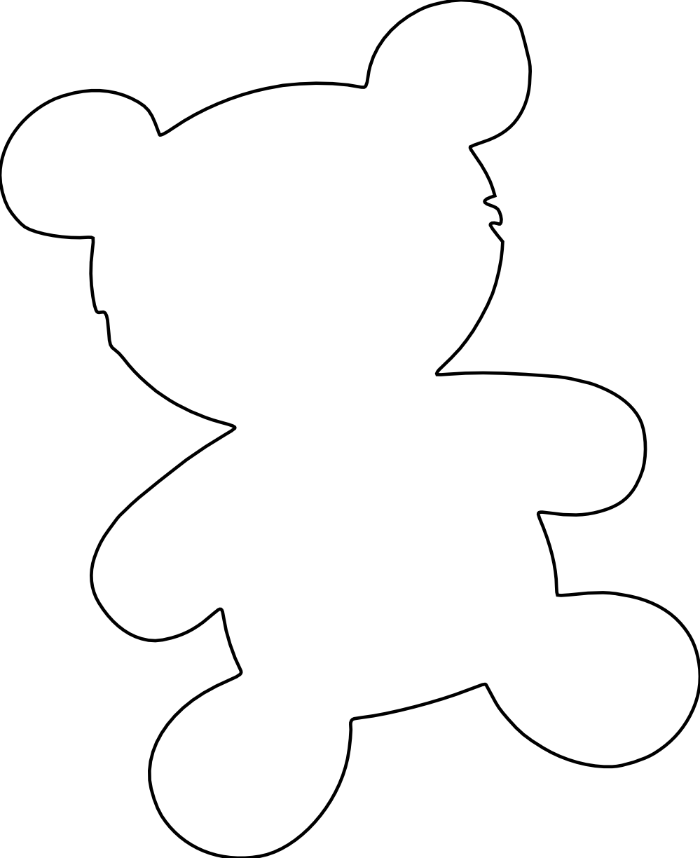 999x1224 Teddy Bear Outline Clipart, Free Teddy Bear Outline Clipart