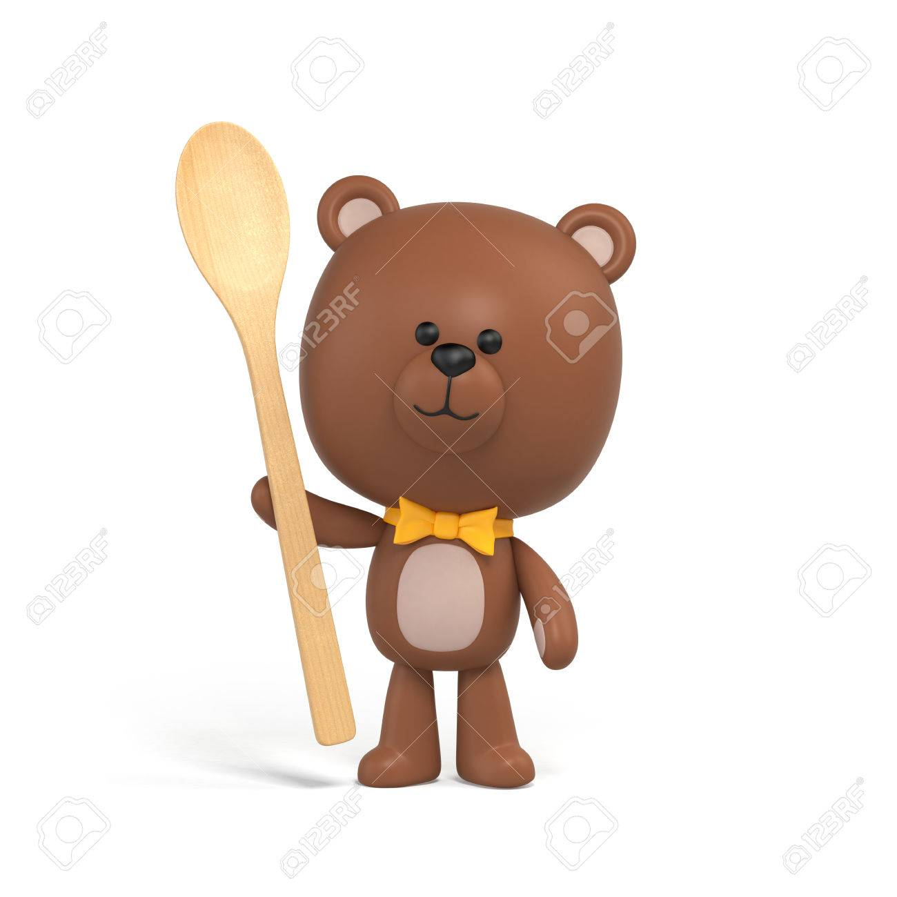 1300x1300 Chocolate Teddy Bear Holding Wooden Spoon, Illustration, Toy
