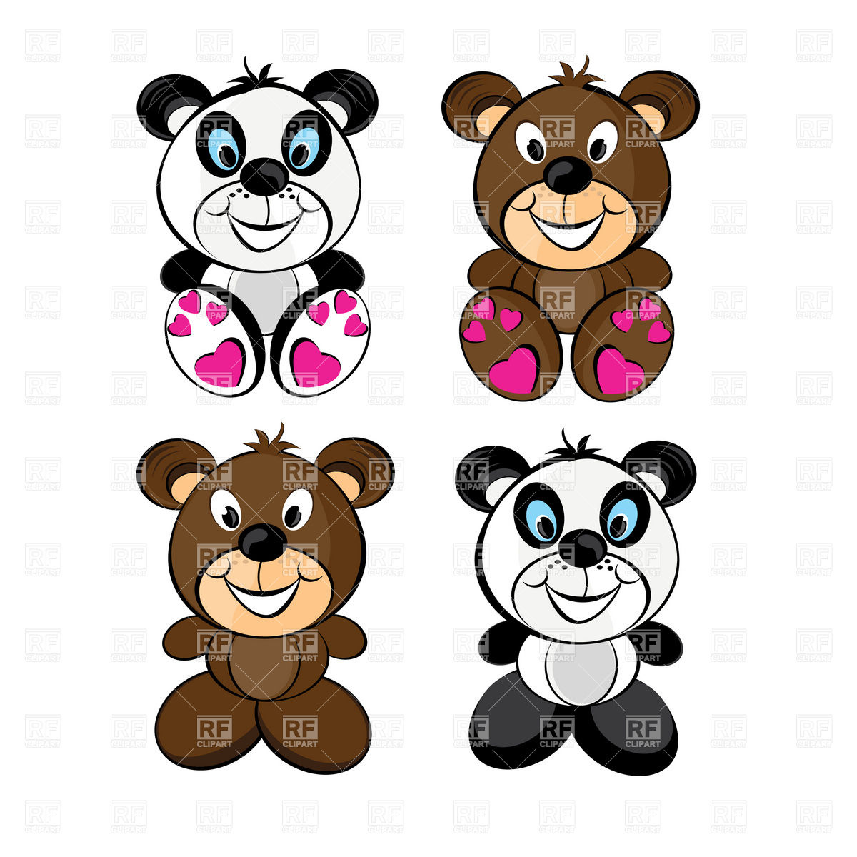 1200x1200 Teddy Bears Set Royalty Free Vector Clip Art Image