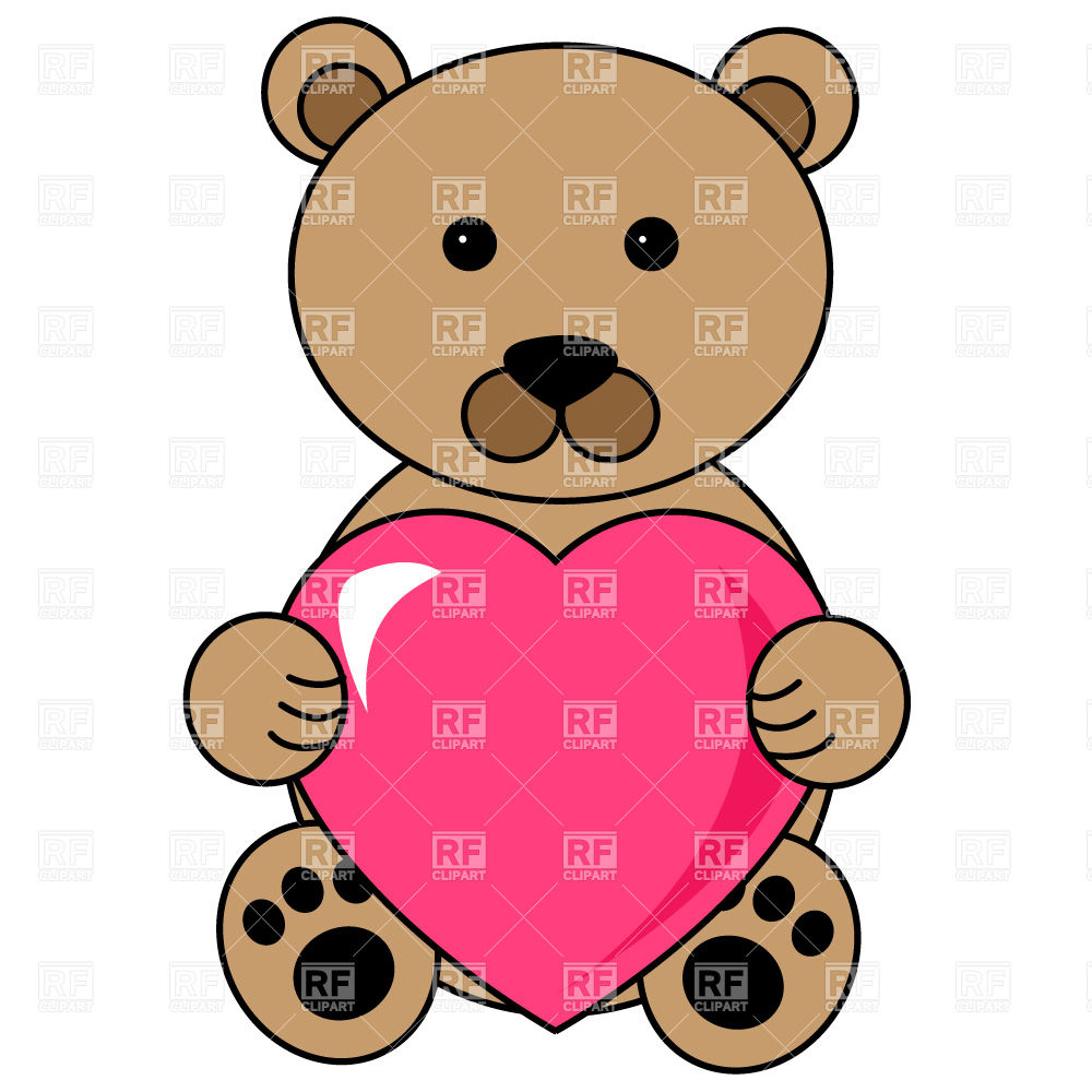 1000x1000 Two Teddy Bears With Red Heart Royalty Free Vector Clip Art Image