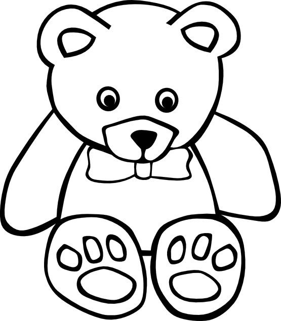 555x635 Clip Art Simple Teddy Bear 1 Black White Line