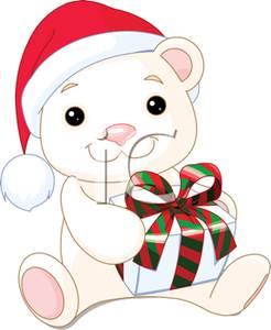 246x300 Polar Bear Teddy Bear Holding A Christmas Present Clip Art Image
