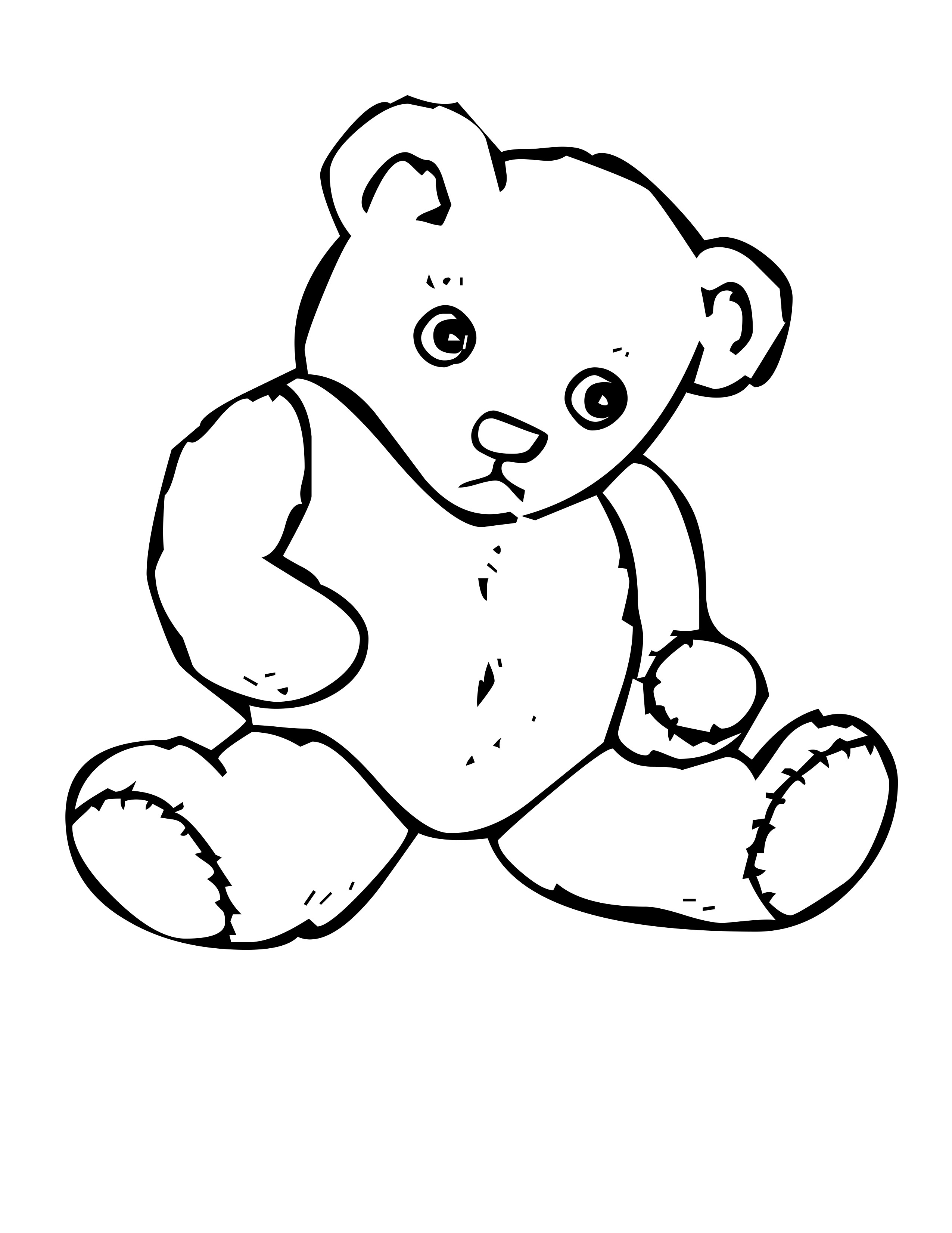 2550x3300 Elegant Teddy Bear Coloring Pages 13 In Line Drawings With Teddy