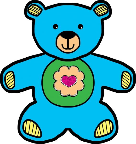 568x600 Blue Teddy Bear Drawing Vector Illustration Free Vector In Open