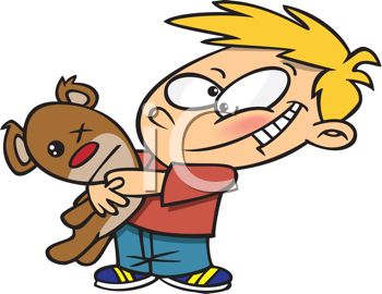350x270 Royalty Free Clipart Image Red Cheeked Boy Hugging His Old Teddy Bear