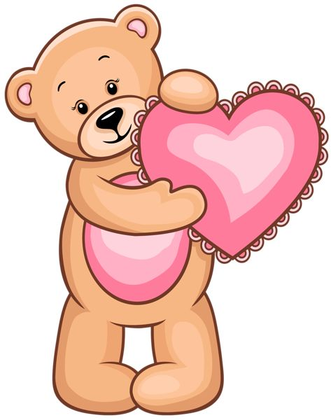 473x600 Teddy Bear Holding Heart Clipart