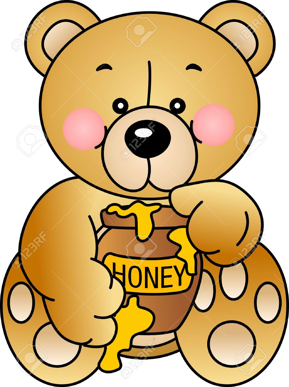 971x1300 Bear Clipart Eating Honey