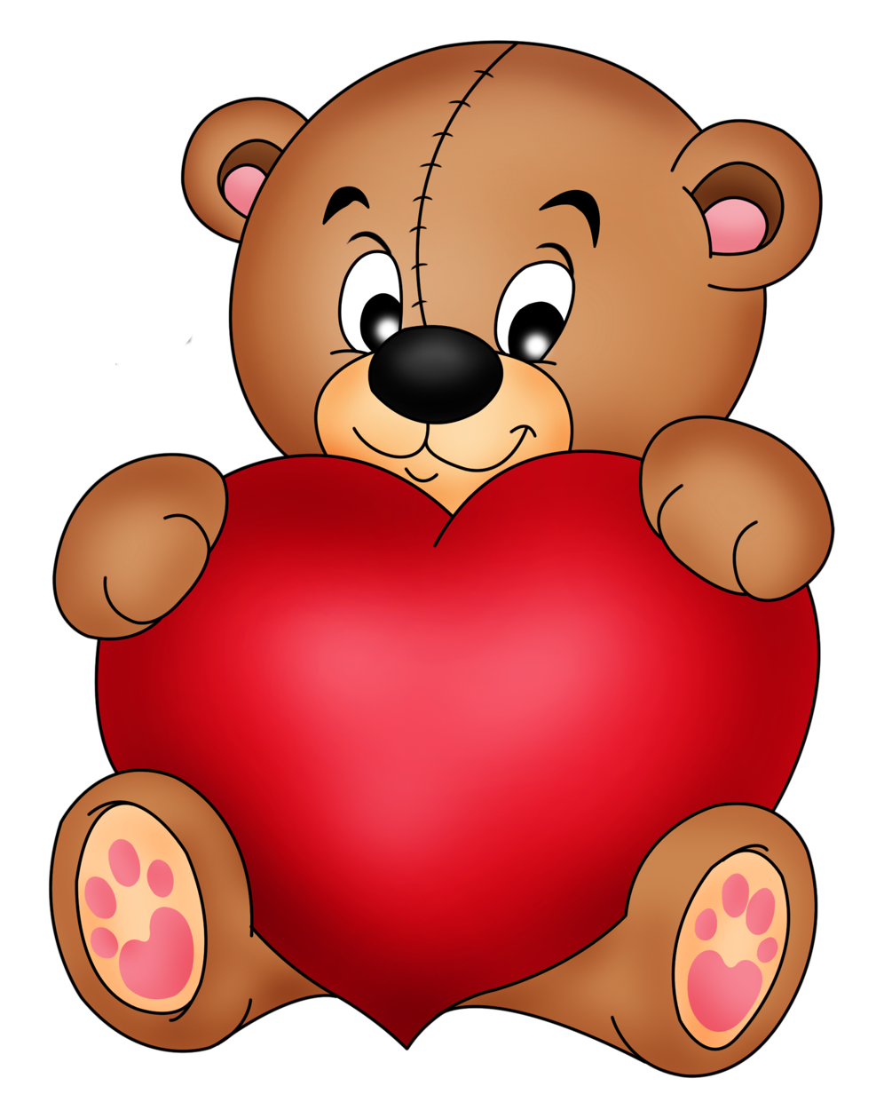 996x1250 Brown Teddy with Red Heart PNG Clipart Nanda Kumar