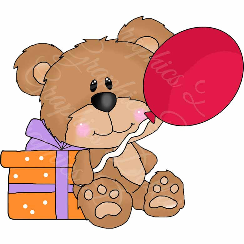 780x780 Cute Teddy Birthday Clip Art