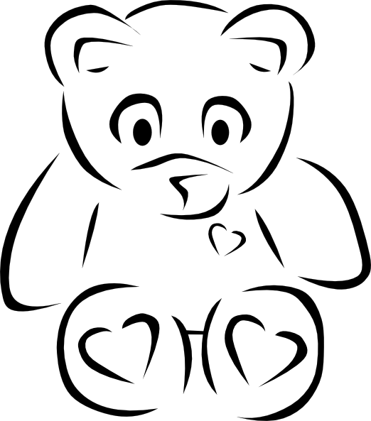 522x593 Teddy bear outline clip art