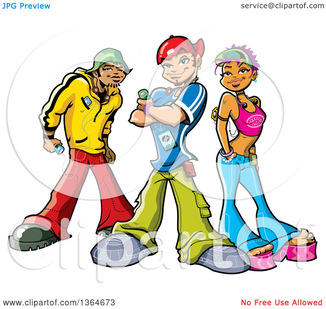 1080x1024 Clipart Of A Cartoon Group Of Funky Urban Teenagers Posing