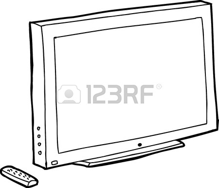 450x386 Single Black Outline Tv Screen With Remote Control Royalty Free