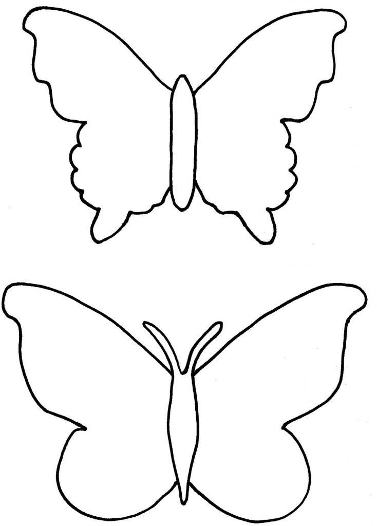 734x1024 Butterfly Drawing Template Butterfly Drawing Template Clipart Free