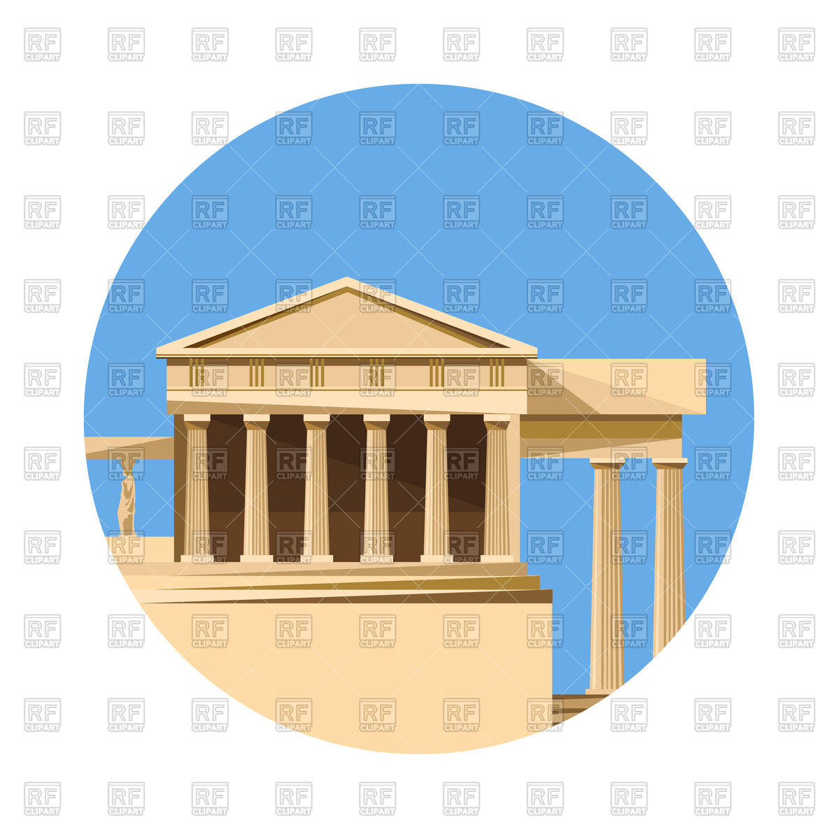 1200x1200 Greek Parthenon Icon Royalty Free Vector Clip Art Image