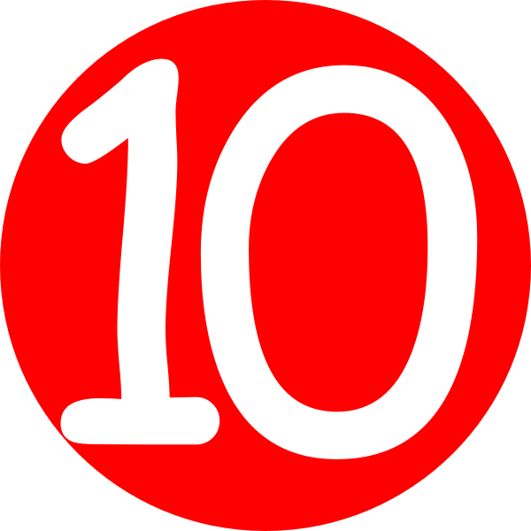 600x600 Red, Rounded,with Number 10 Clip Art