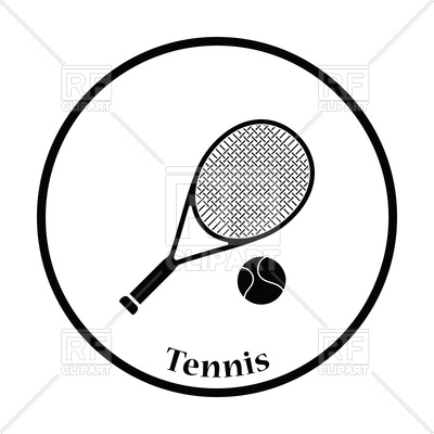 400x400 Icon Of Tennis Racket And Ball Royalty Free Vector Clip Art Image