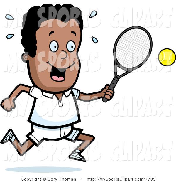 600x620 Sports Clip Art Of A Black Tennis Boy With A Tennis Racket