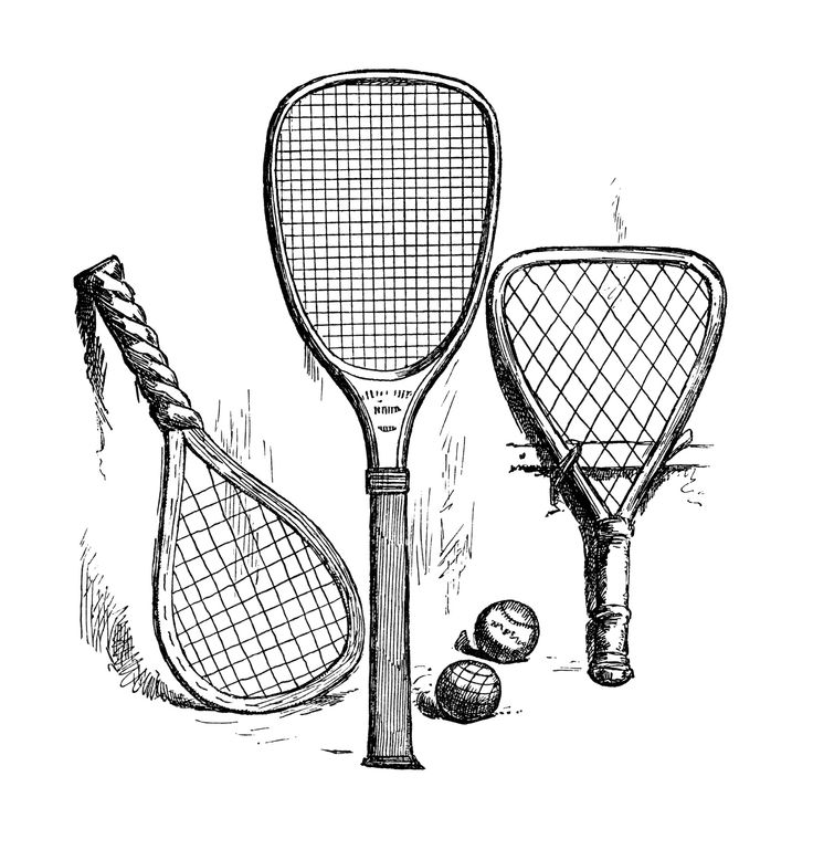 736x769 Tennis Ball And Racket Black And White