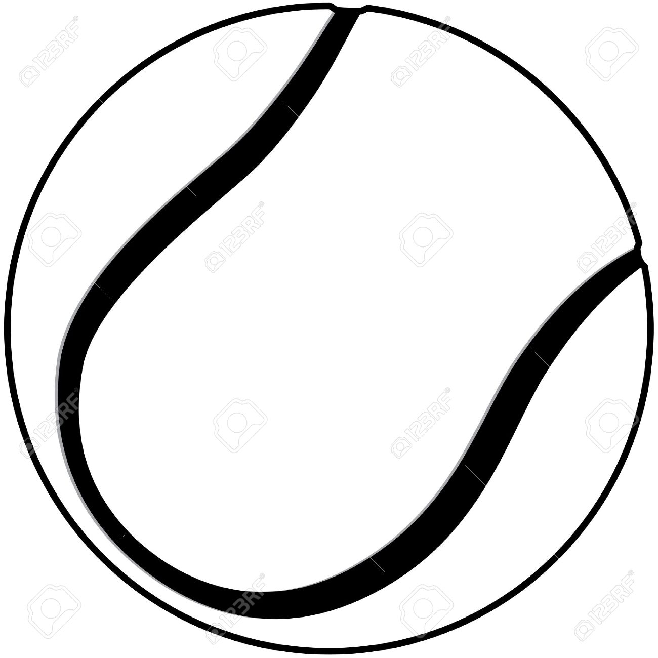 1300x1300 Illustration Of A Tennis Ball Outline Isolated In White Background