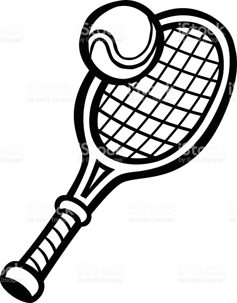 802x1024 Tennis Ball And Racket Black And White Collection