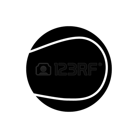 450x450 Black Tennis Ball Silhouette Isolated On White Background Stock